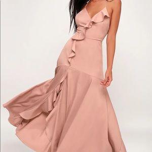 Lulu's Selmah Mauve Ruffled Lace-Up Maxi Dress